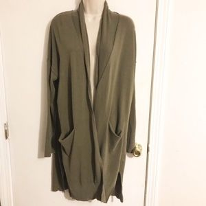 J Crew Green Lightweight Long Cardigan
